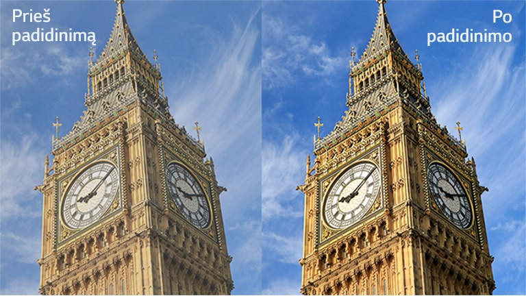 """On the right is the image of Big Ben labeled """"After magnification,"""" which is sharper than the same image on the left, which also reads """"Before magnification."""""""