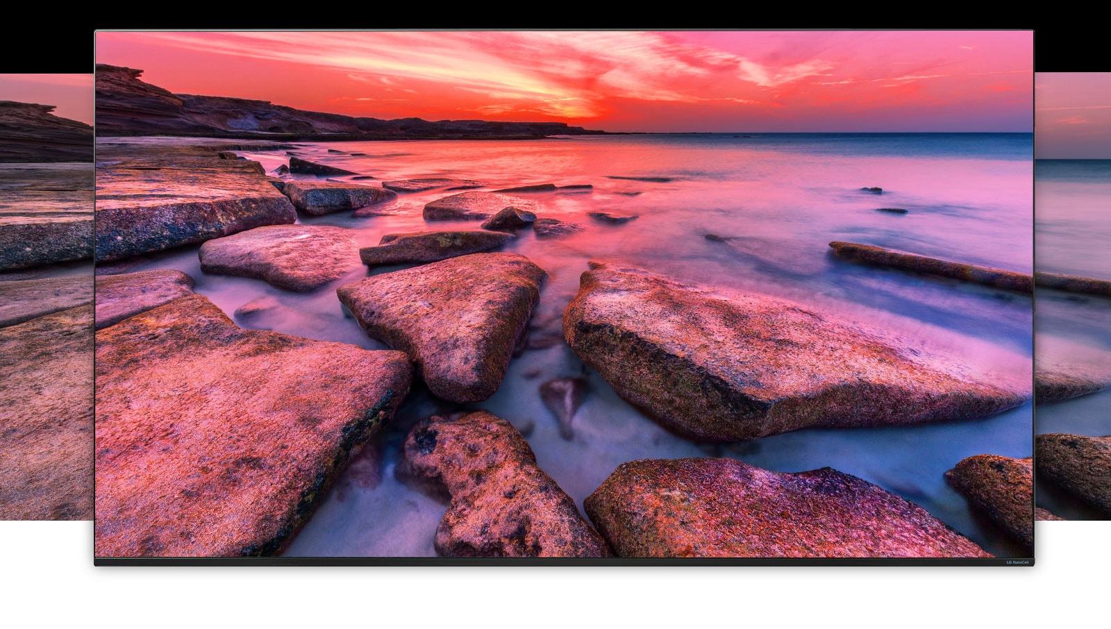 TV ekranas, kuriame rodomas platus peizažas