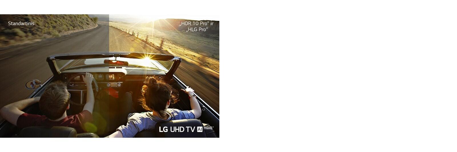 Pora automobilyje važiuoja keliu. Viena pusė yra standartinis ekranas, kuriame vaizdo kokybė yra bloga. Kita pusė yra LG UHD TV, kuriame vaizdas yra detalus ir gyvas.