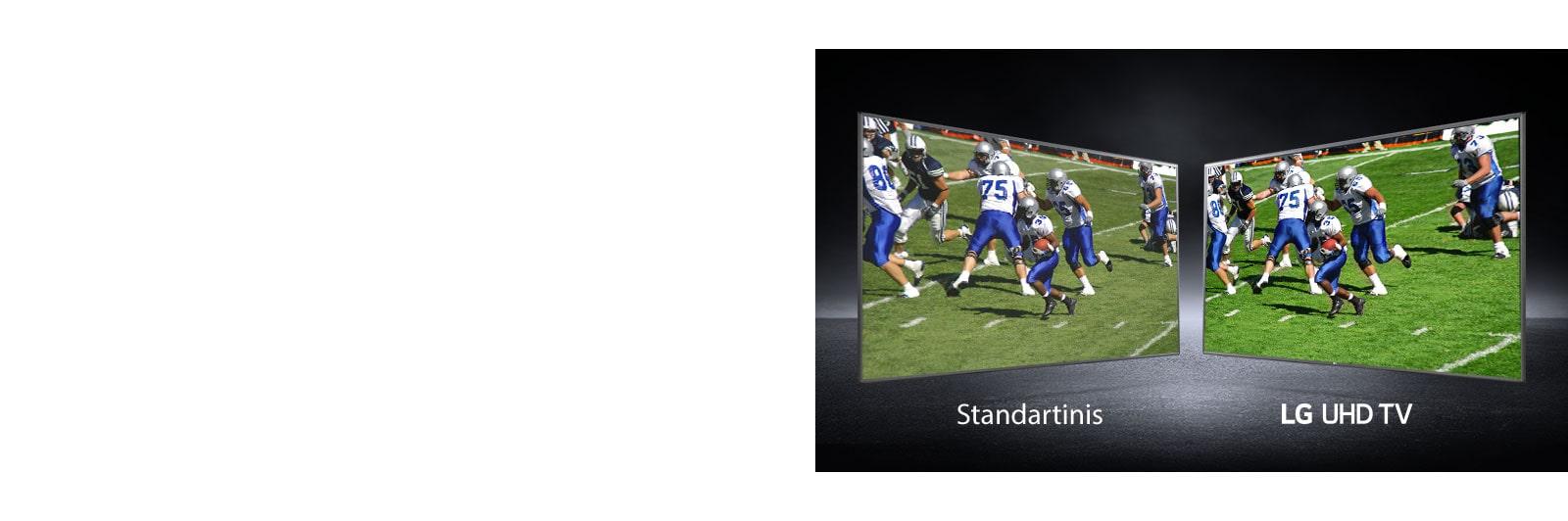 Futbolo aikštėje žaidžiančių žaidėjų vaizdas skirtinguose rodiniuose. Vienas rodomas įprastame ekrane, o kitas – UHD televizoriuje.