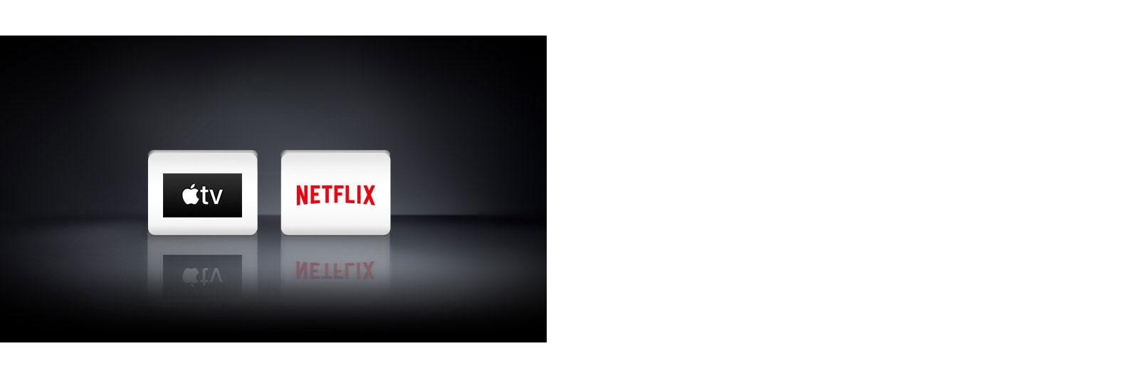 """Du programų logotipai, rodomi iš kairės į Netflix"""" ir """"Apple TV""""."""