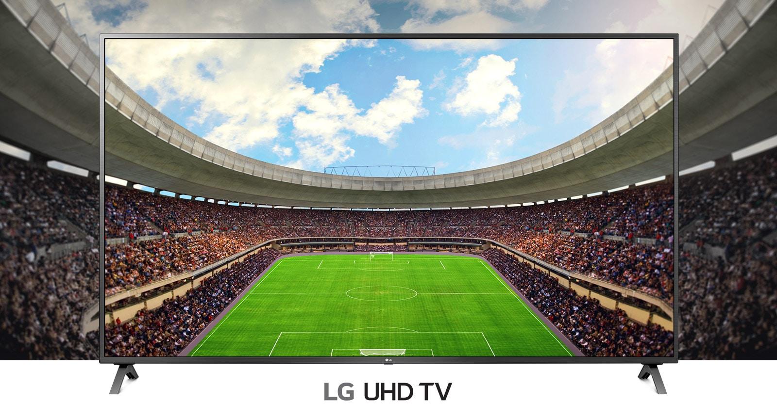 Televizoriaus ekrano rėme rodomas panoraminis žiūrovų pilno futbolo stadiono vaizdas