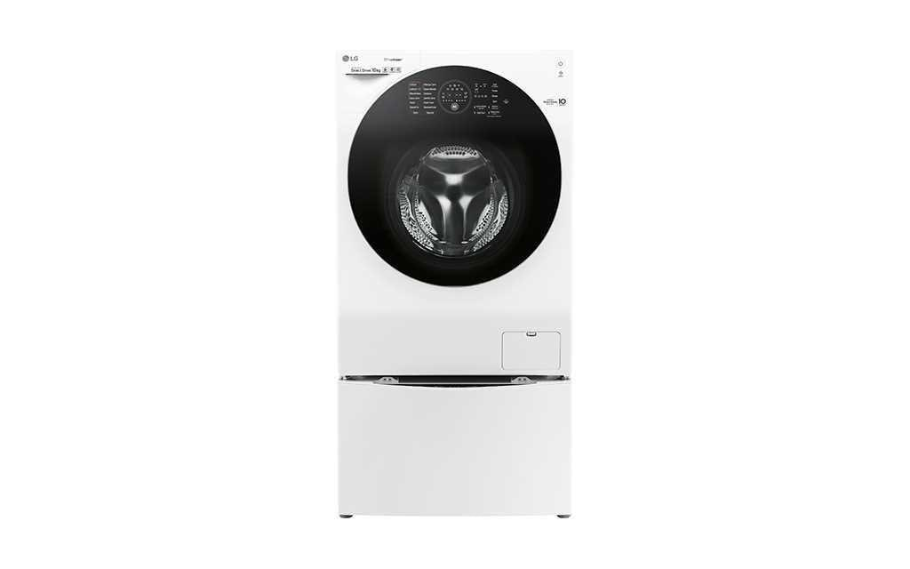 A front-on view of LG TWINWash washing machine with the door closed