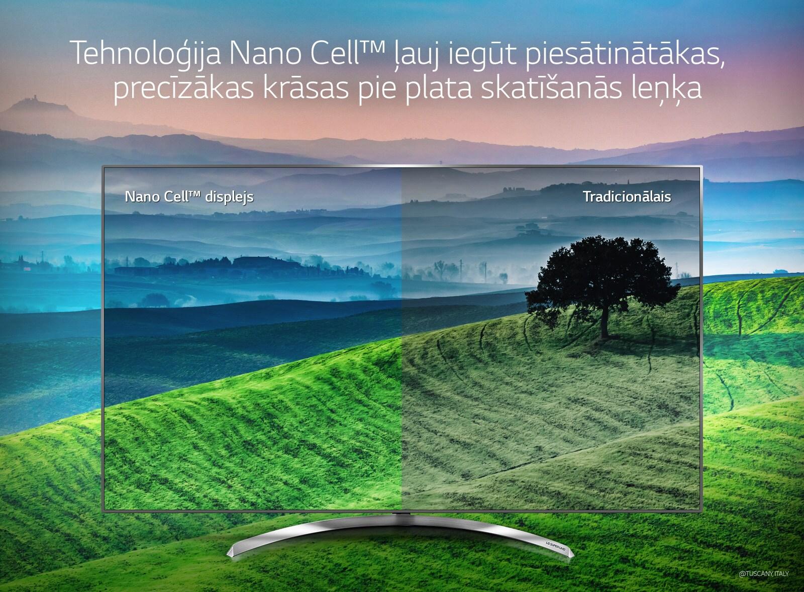 Tehnoloģija Nano Cell™ ļauj iegūt piesātinātākas, precīzākas krāsas pie plata skatīšanās leņķa