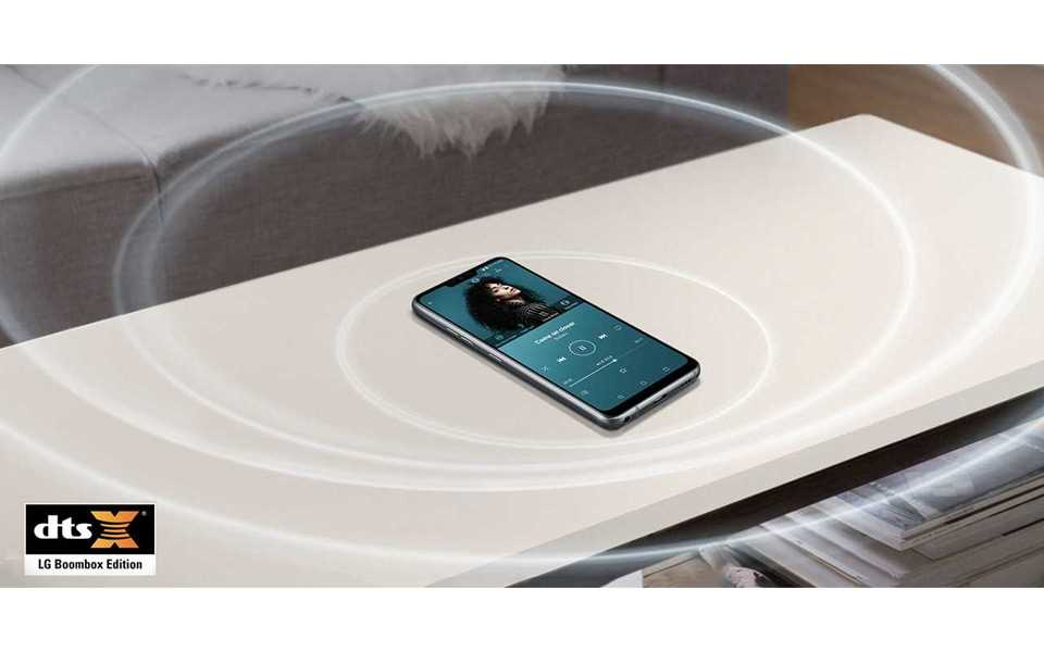 The booming sound of LG G7 ThinQ Boombox speaker on the table