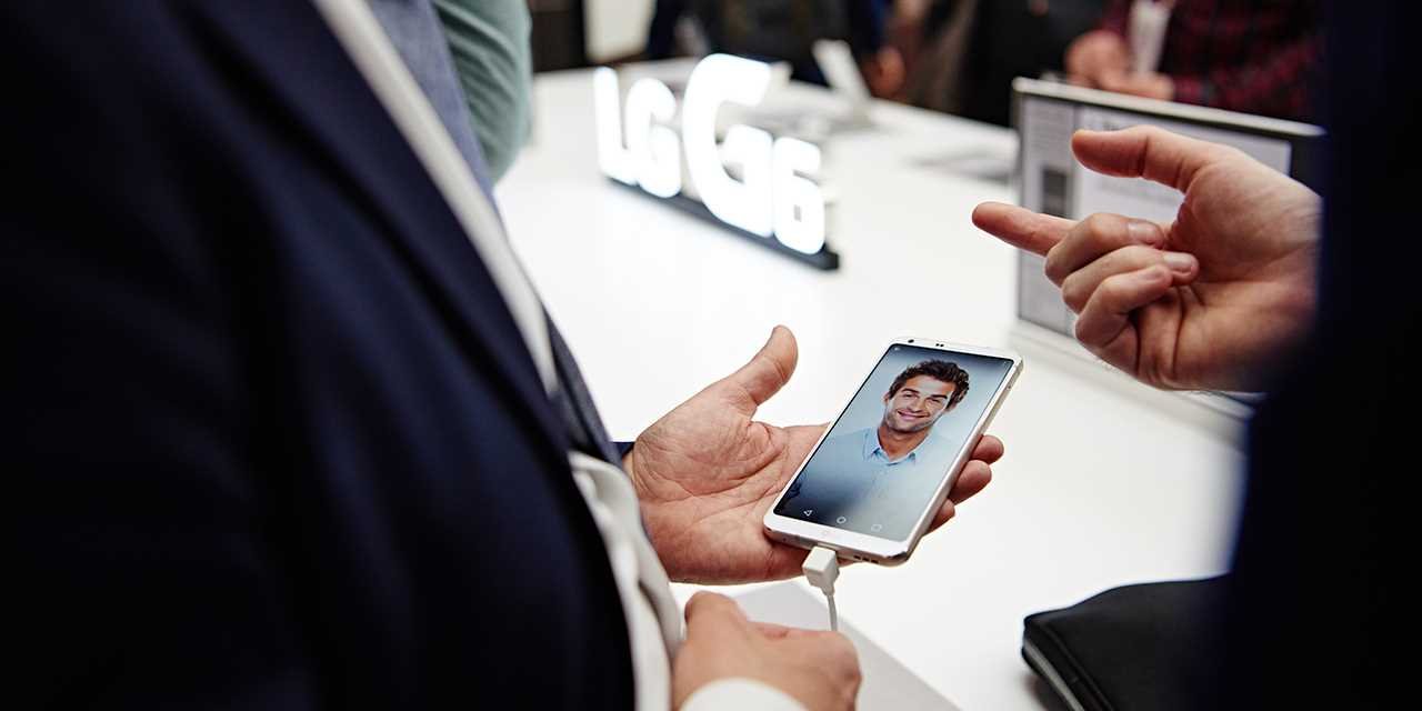 An image of new lg g6 smartphone at the exhibition venue at mwc 2017 barcelona