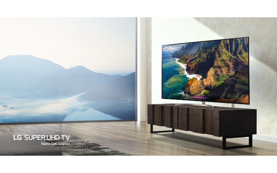 An image of beautiful and modern living with new lg super uhd tv.