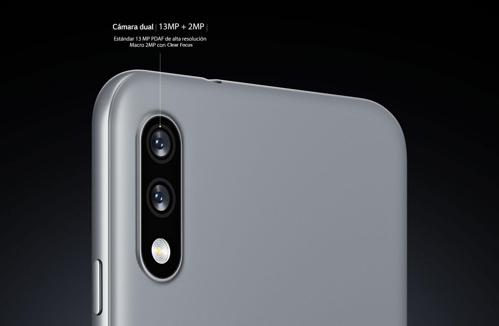 Vista trasera de un teléfono inteligente que muestra dos cámaras.