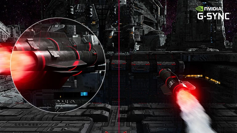 A Spinning Missile Flies to The Targets at Great Speed in FPS Game, and The Fast Spinning Movement Captured by Zooming to The Larger Sized View Goes in Smoother Motion with G-Sync Mode on Comparing to Another Scene with G-Sync Mode Off.