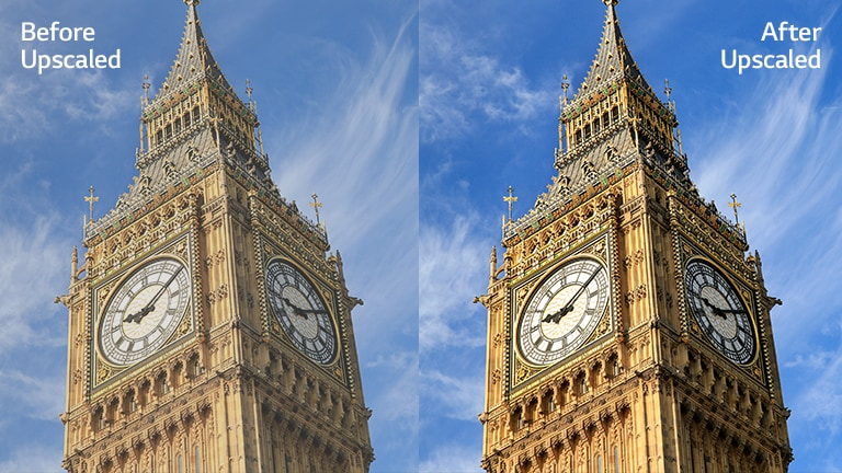 An image of Big Ben on the right with the text of 'After Upscaled' has brigter and clearer image compared to the same image on the left with the text of 'Before Upscaled'.