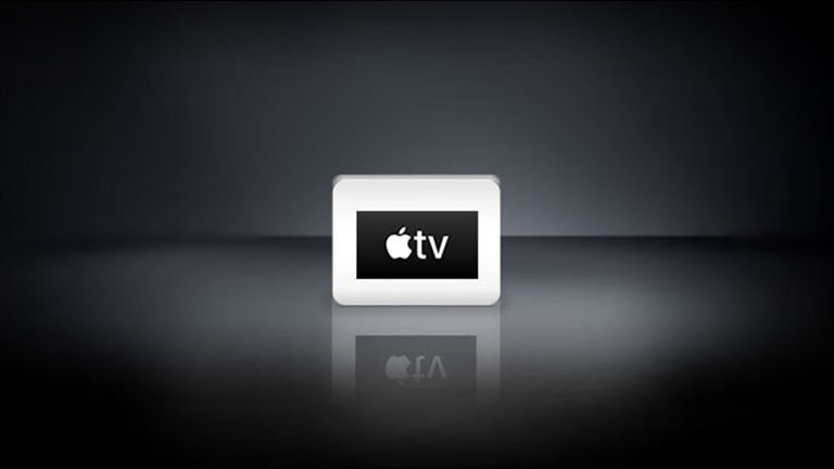 The Apple TV logo are arranged horizontally in the black background.