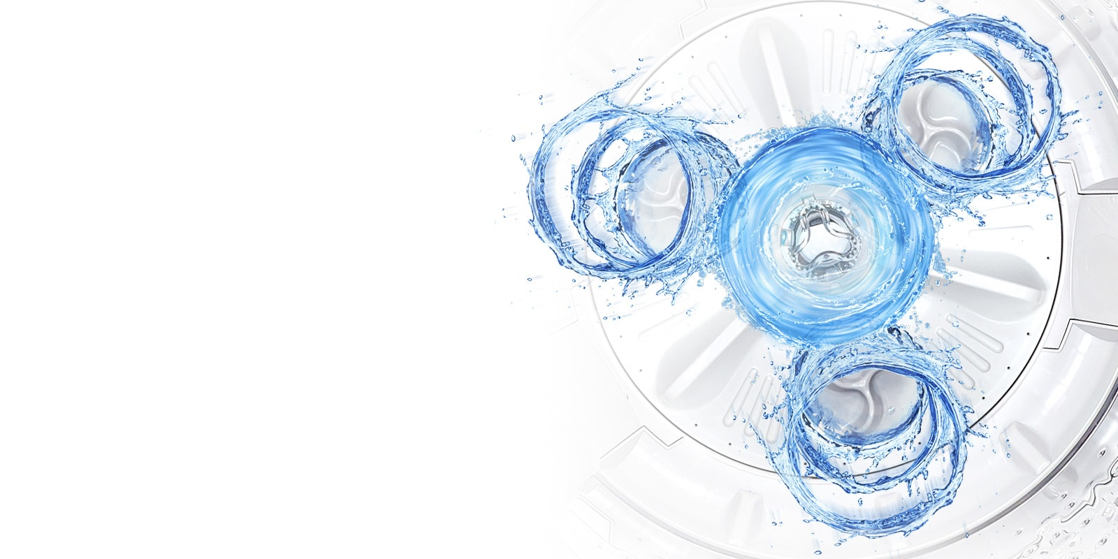 A view down inside the washer shows where the three water punches are located. Blue water shows how the system produces 3 vertical water currents.