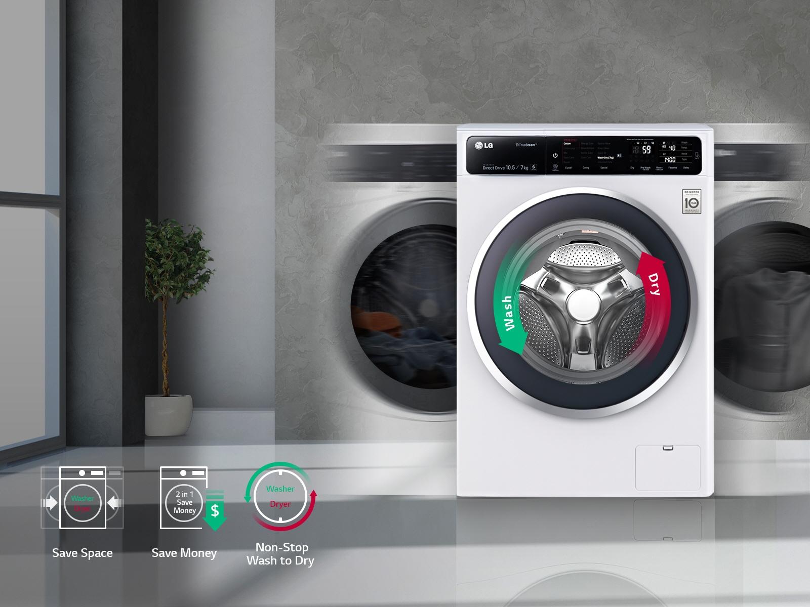 Lg Washer Dryer F2718rvtv Inverter Direct Drive 18kg 10kg