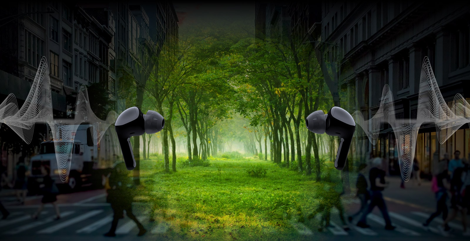 An image of two earbuds facing each other and wave illustrated behind each earbud. And it's a virtual space,there are city but forest in the middle.