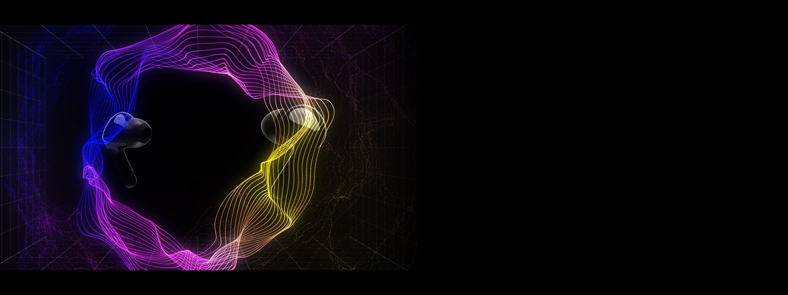 An image of two earbuds floating in a virtual space with colorful lighting surrounding the space.
