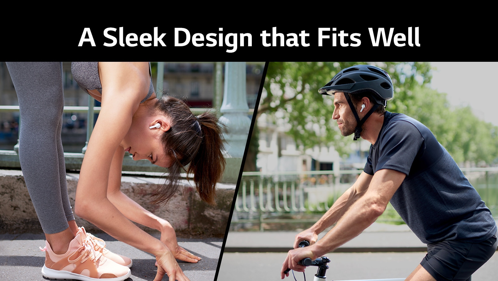 A woman is bending down to stretch while wearing TONE Free. A man is riding a bicycle.