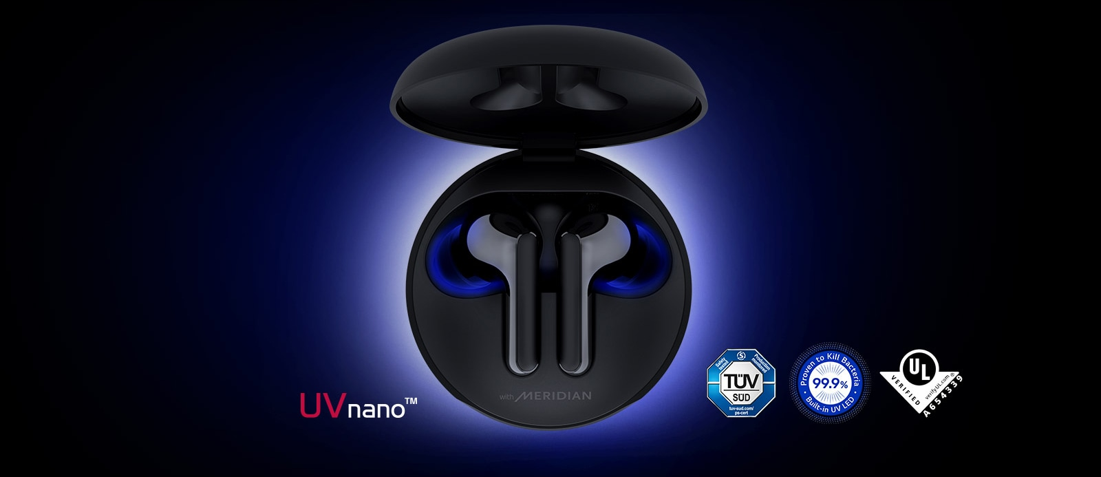 An image of the cradle opened up with earbuds sitting inside it and blue lighting shining to highlight the UVnano feature