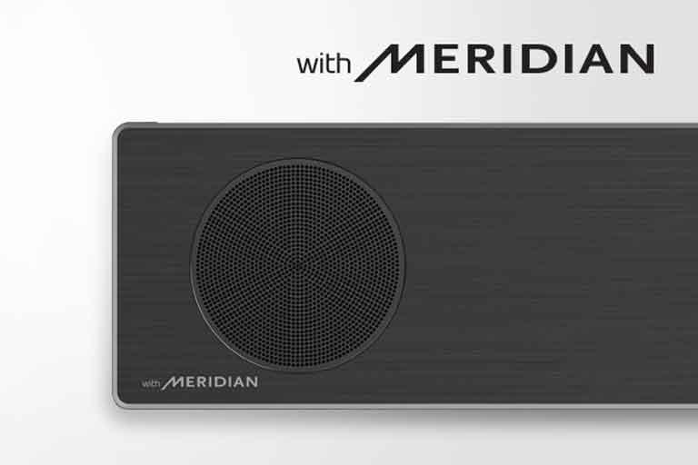 Close-up of LG Soundbar left side with Meridian logo on the bottom left corner. Larger Meridian logo shown above the product.