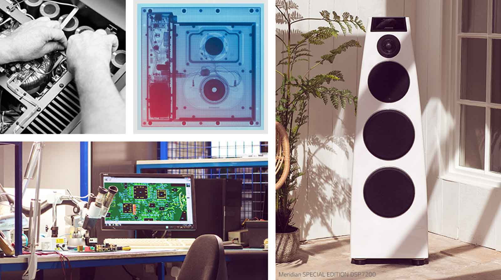Collage. Clockwise from top-left: two images of Meridian internal hardware, a white Meridian speaker, and Meridian R&D desk
