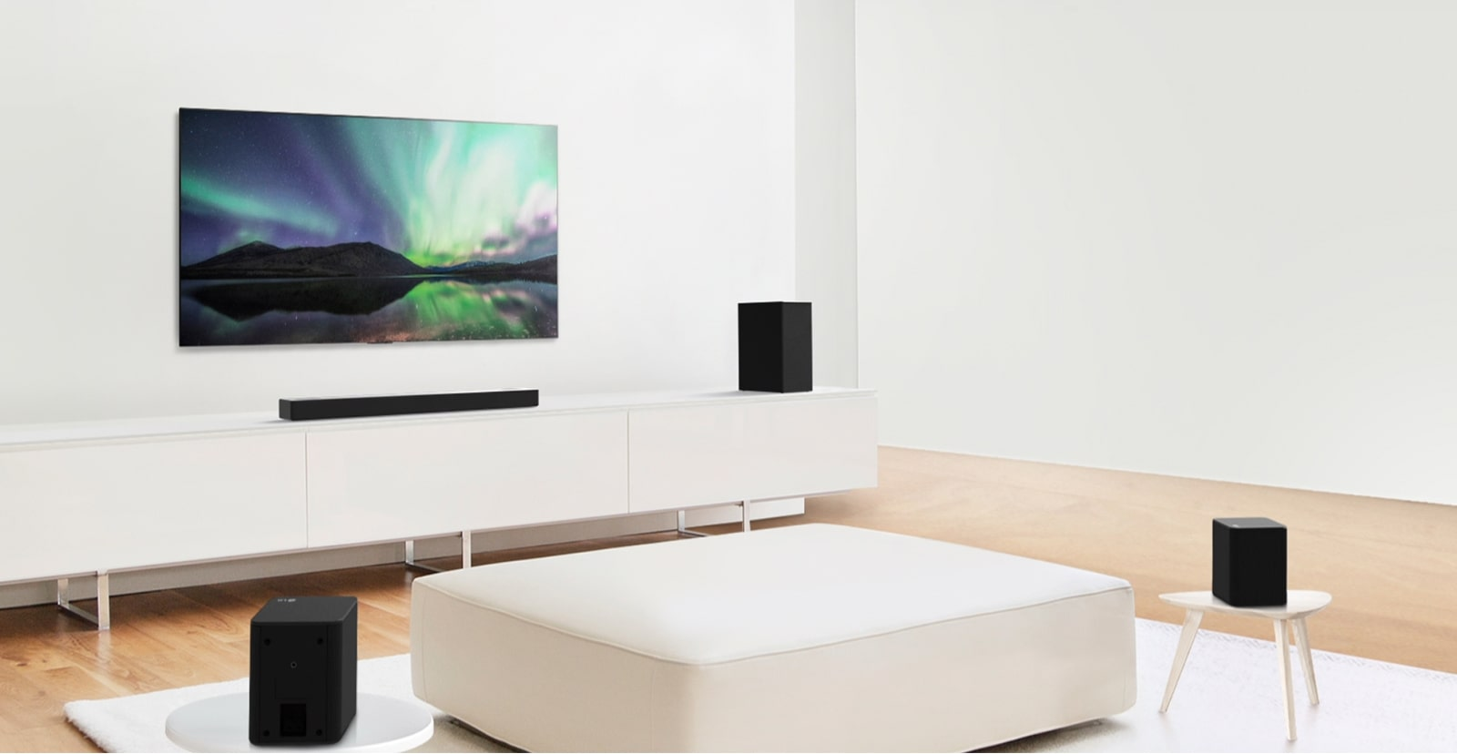 Video preview showing LG Soundbar in a white living room with 5.1.2 channel setup.