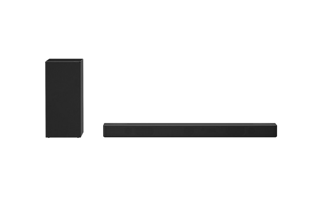 LG SN7Y 380W 3.1.2ch Hi-Res Dolby Atmos Sound Bar with Meridian Technology & Bluetooth® Connectivity, front view with sub woofer, SN7Y