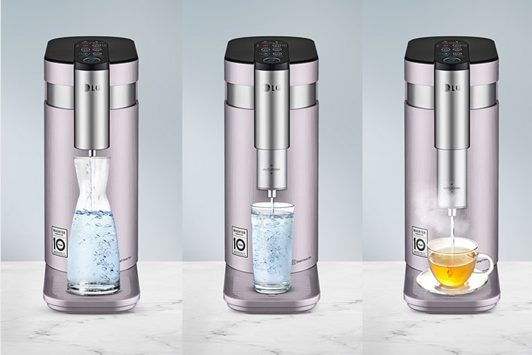 Three images of the water purifier are shown next to eachother and each has a different sized water recepticle showing that the tap can move up and down depending on the size.