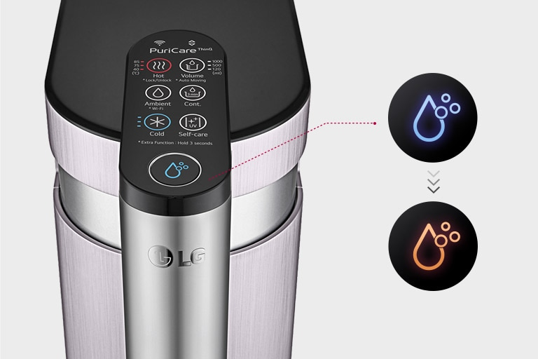 The third shows the touch pad of the machine and a magnified water symbol tuned red to indicate it changes colors based on the filter status.
