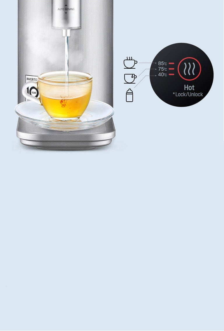 The water purifier fills a cup of tea with water. Below are three icons representing coffee, tea, and a bottle and the temperatures of recommended water to fill them.