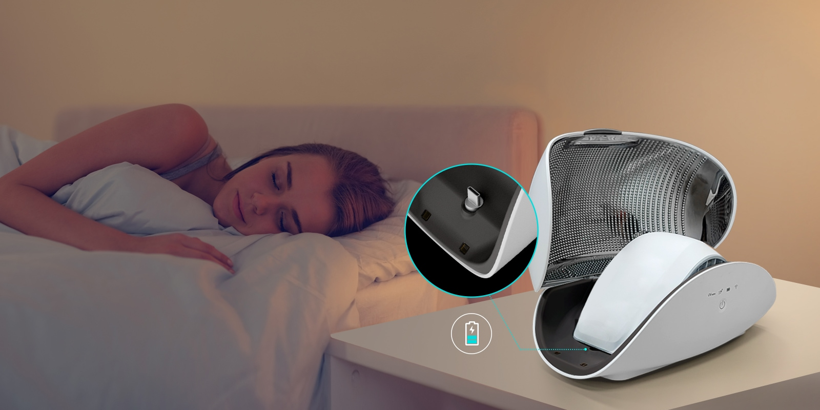 A women sleeps on a bed in the background. A drained battery icon is near her. The Puricare Mask sits in the PuriCare Wearable Air Purifier Case which is also a charger. A magnified inset shows where the mask plugs into the case.