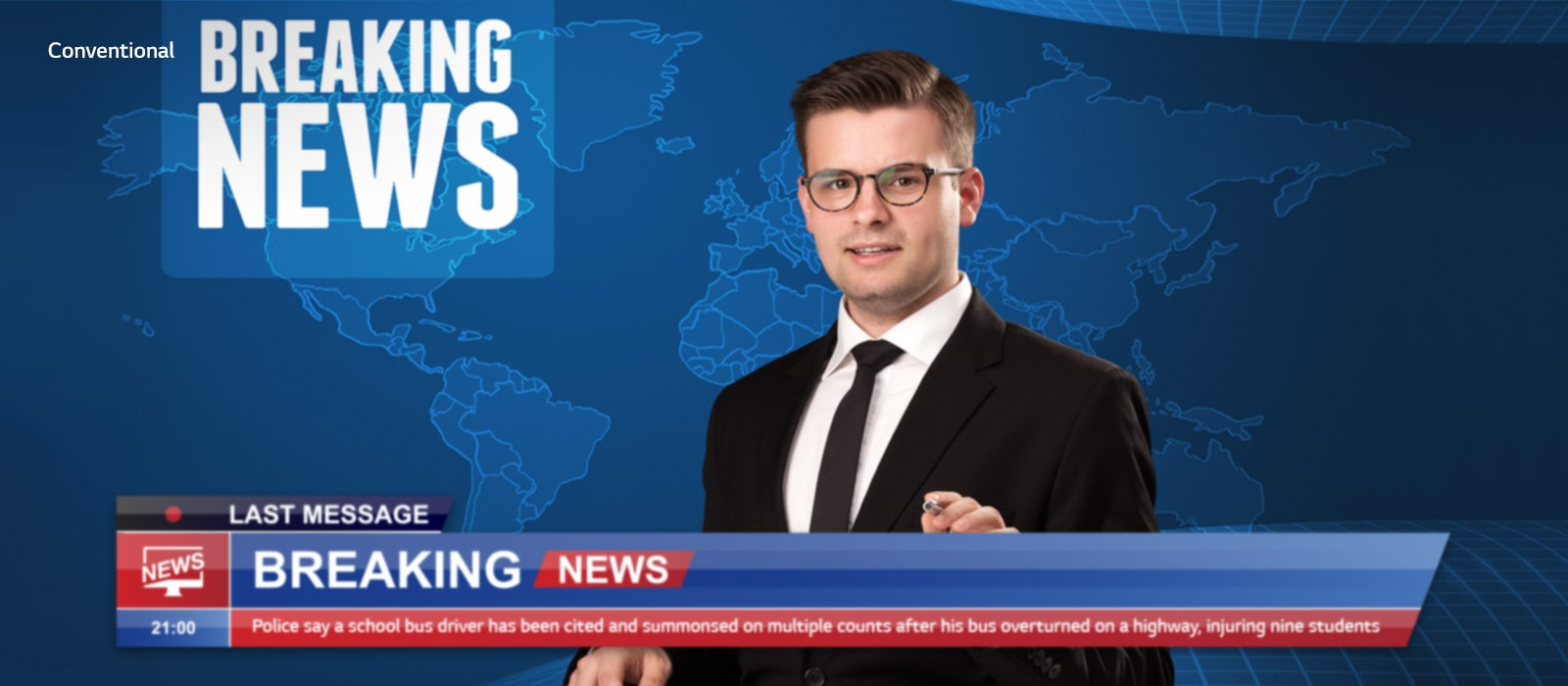 Slider comparison of picture quality of an anchor delivering breaking news with background of world map