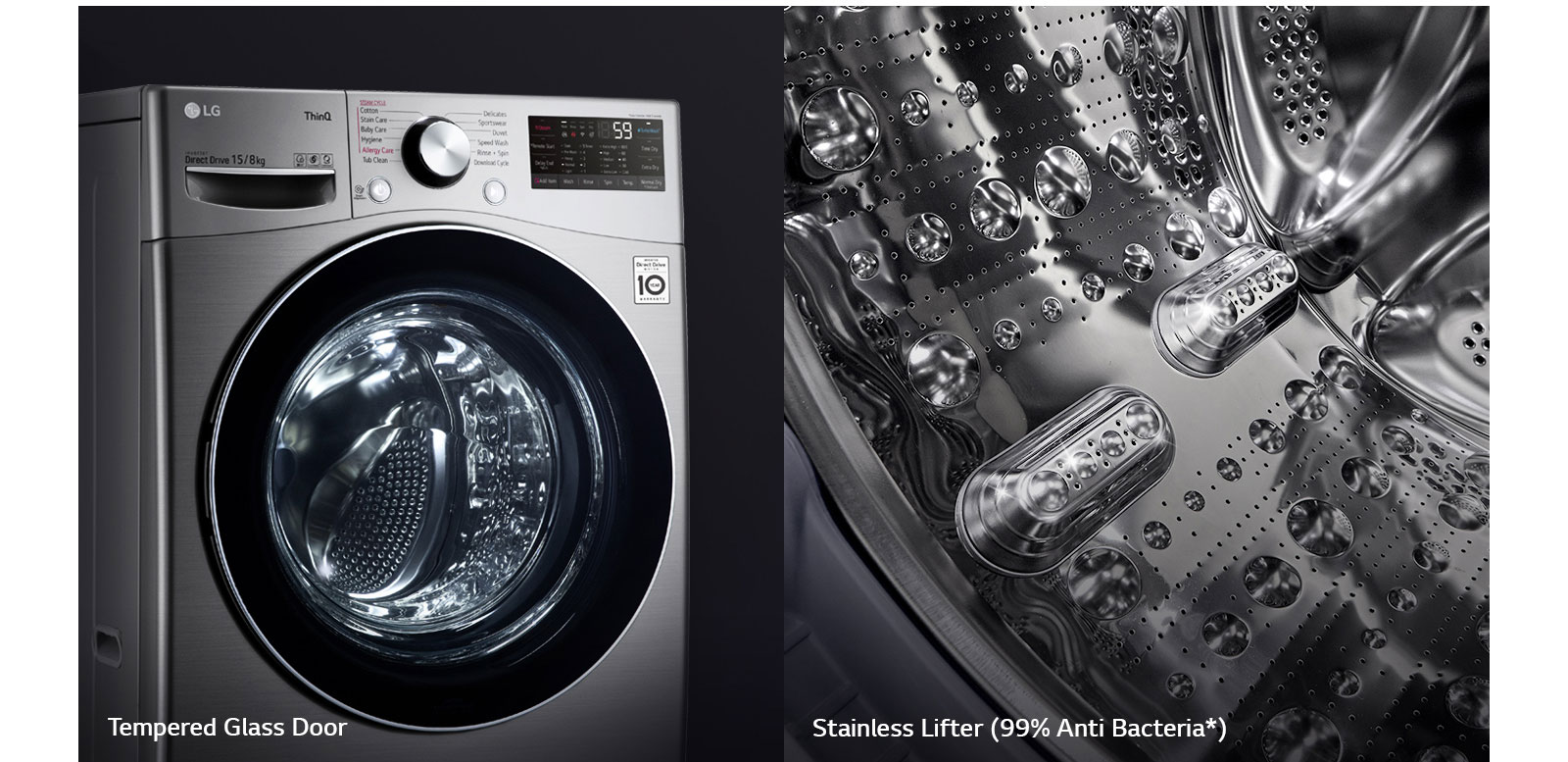 One image shows the front of the washing machine front load washer bringing focus to the tempered glass door. Second image shows the interior of the drum with focus on the stainless steel design.