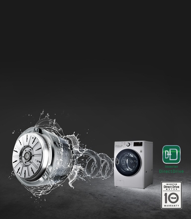 A grey background with the washing machine front loading washer highlighted and a swirl of water thrusting from the front to lead to an image of the Inverter Direct Drive Motor.