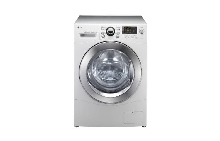 lg white 8kg 1000rpm spin speed 6 motion washer with 10 year inverter direct drive motor. Black Bedroom Furniture Sets. Home Design Ideas