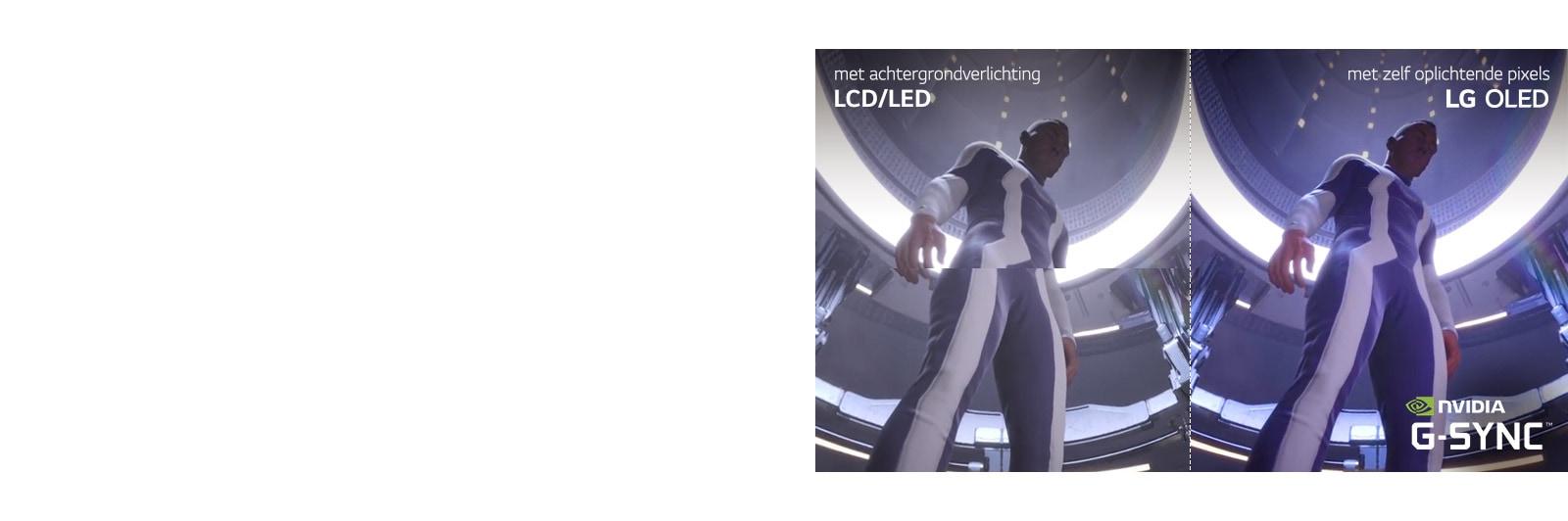 Een scène van een gamekarakter op een LCD / LED-tv met haperingen de andere helft op een LG OLED-tv zonder haperingen