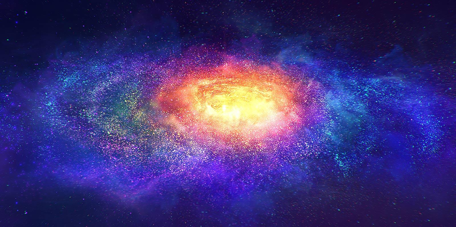 Miljoenen kleine kleurrijke deeltjes in de ruimte