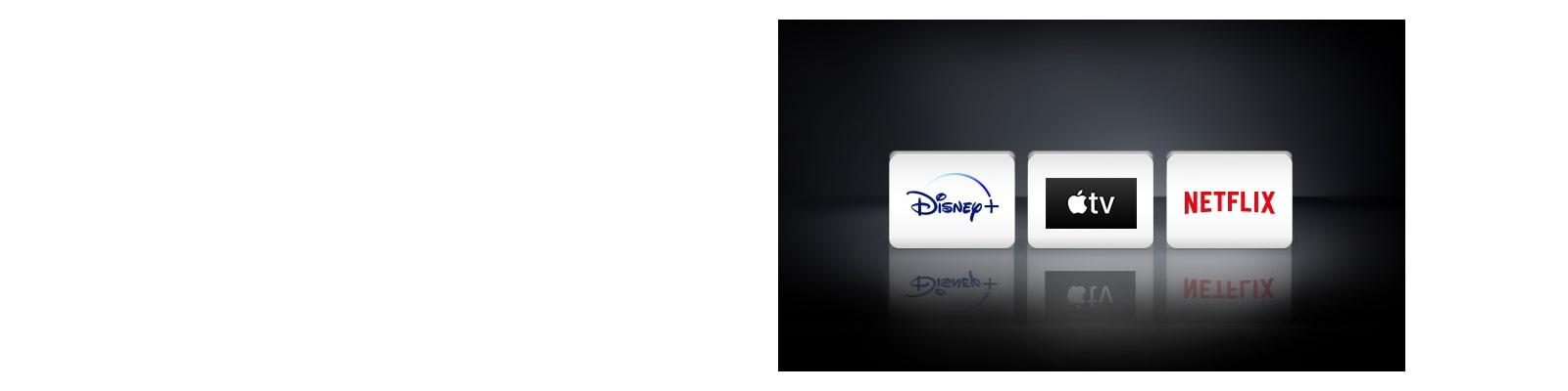 Het Netflix-logo, het Disney+-logo en het Apple TV-logo zijn horizontaal gerangschikt op de zwarte achtergrond.