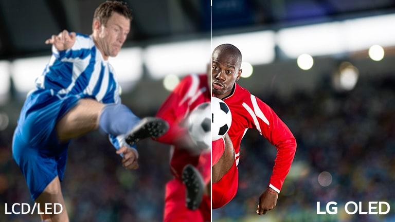 Een scène van een voetbalspel is in tweeën gedeeld voor visuele vergelijking. Op de afbeelding staat linksonder de tekst van lcd/led en rechtsonder het LG OLED-logo.