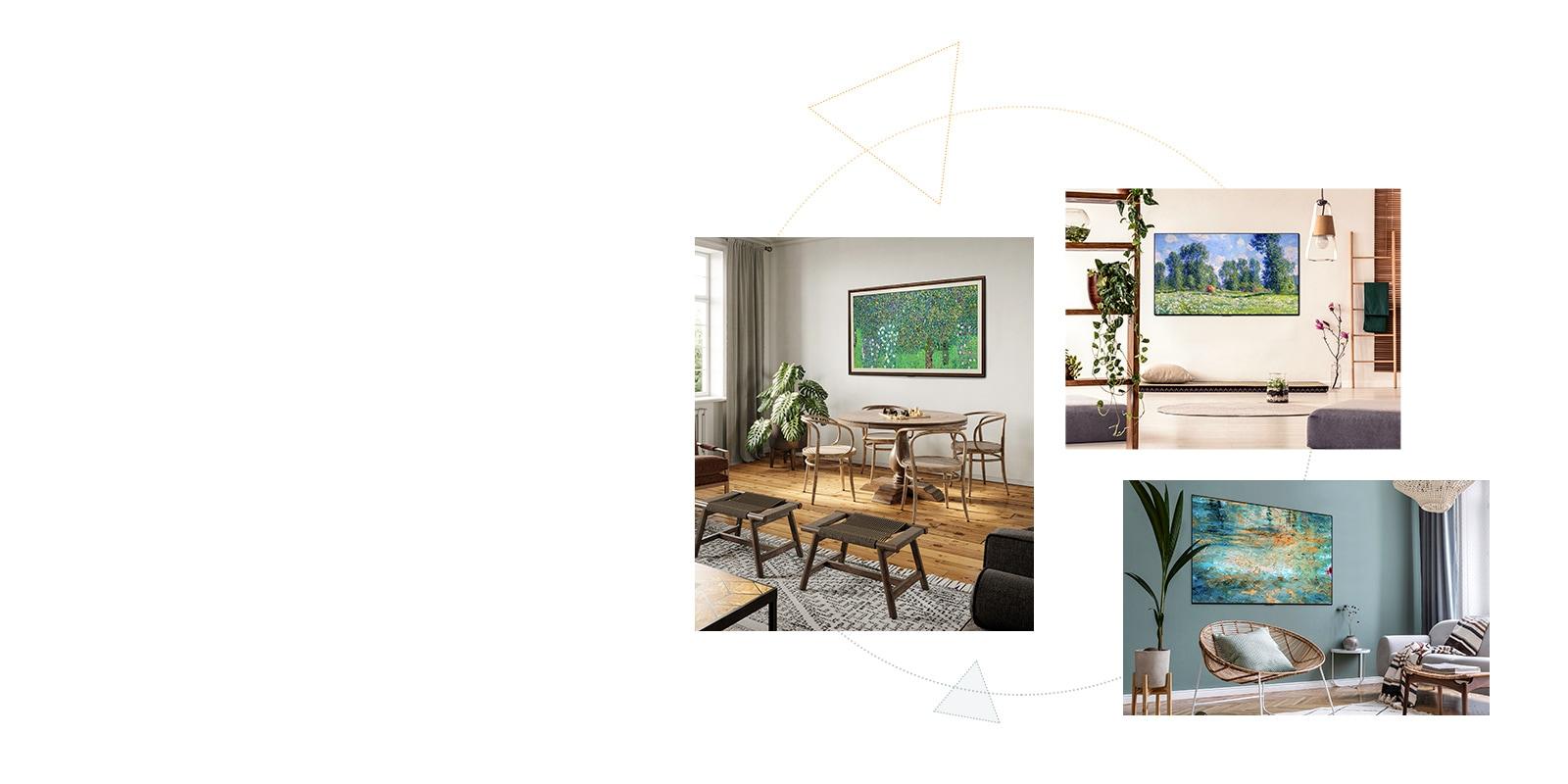Drie Gallery Design tv's met een standaard die overal als kunstwerken werken