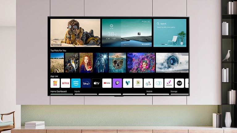 Een tv-scherm met een nieuw ontworpen beginscherm met gepersonaliseerde inhoud en kanalen