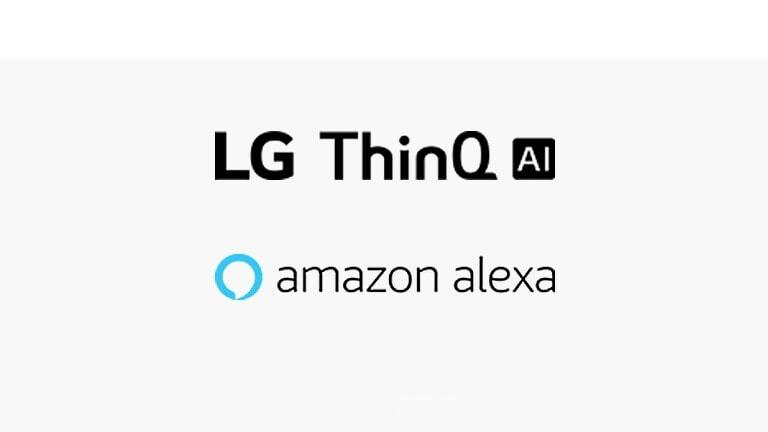 Deze kaart beschrijft spraakcommando's. LG ThinQ AI logo, en Amazon Alexa logo werden geplaatst.