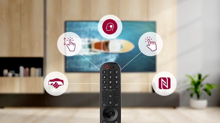 Kernfuncties van de Magic Remote weergegeven in pictogram