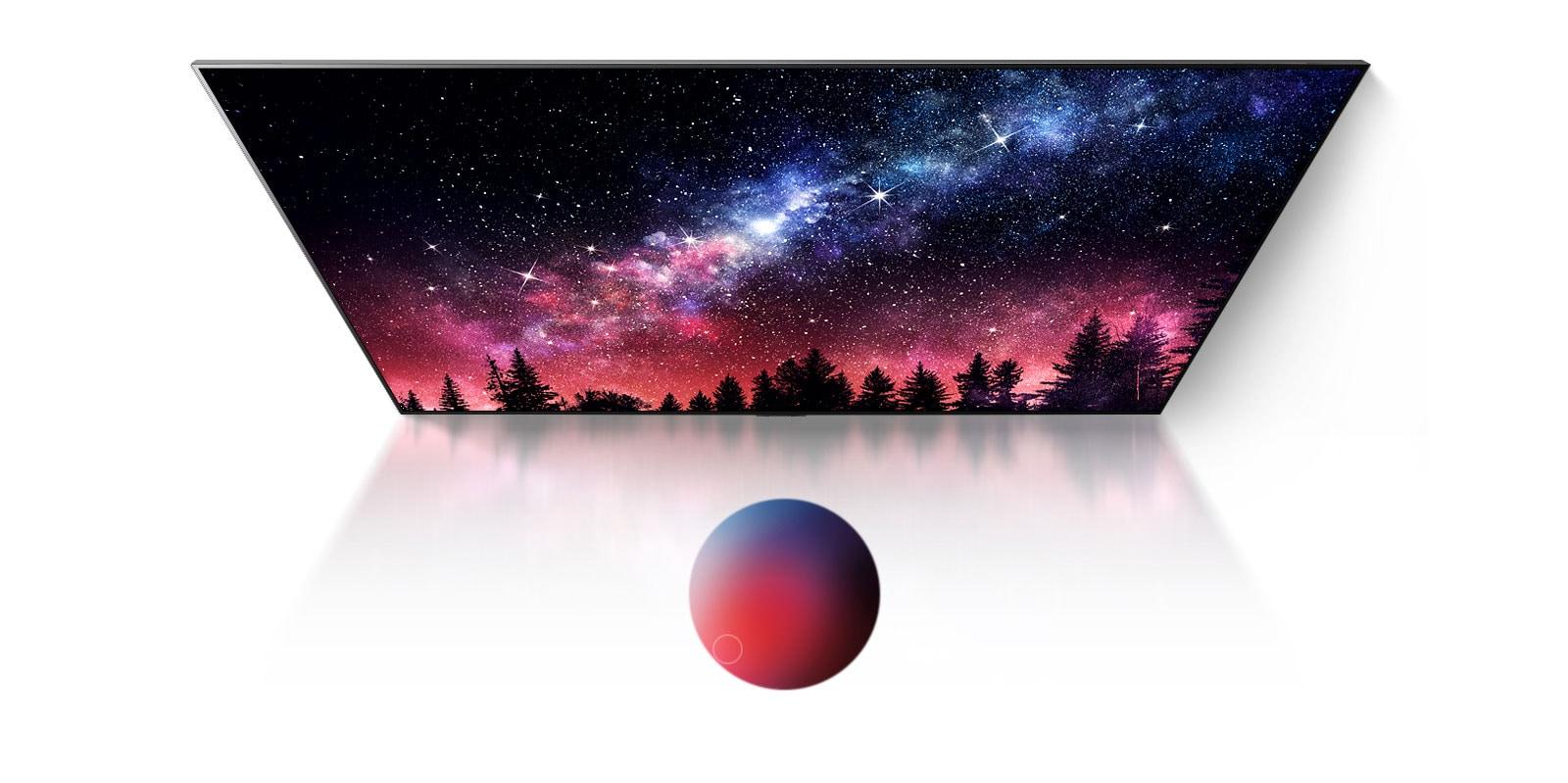 Een tv-scherm dat de melkweg, een blauwe hemel en een explosie van kleurrijk stof met grote kwaliteit toont (speel de video)