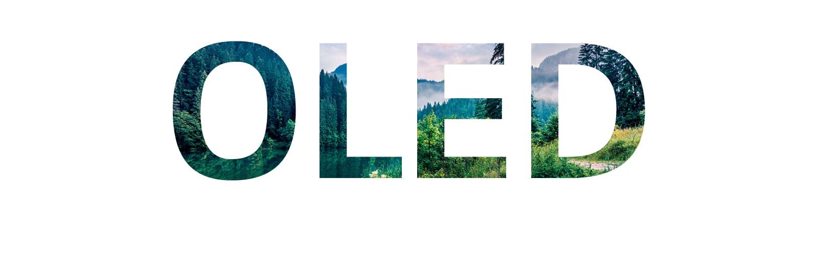 Een woord 'OLED' gevuld met een natuurbeeld dat van rechts naar binnen komt (speel de video af)