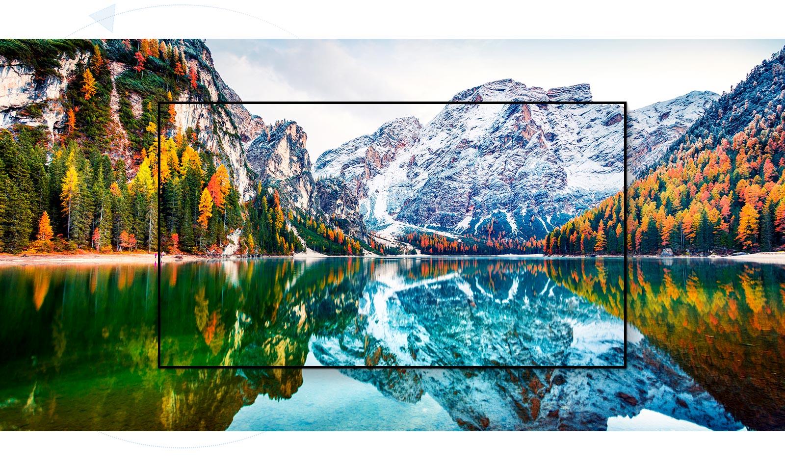 Een tv-scherm dat het landschap van de berg en het meer vastlegt is vergroot (speel de video af)