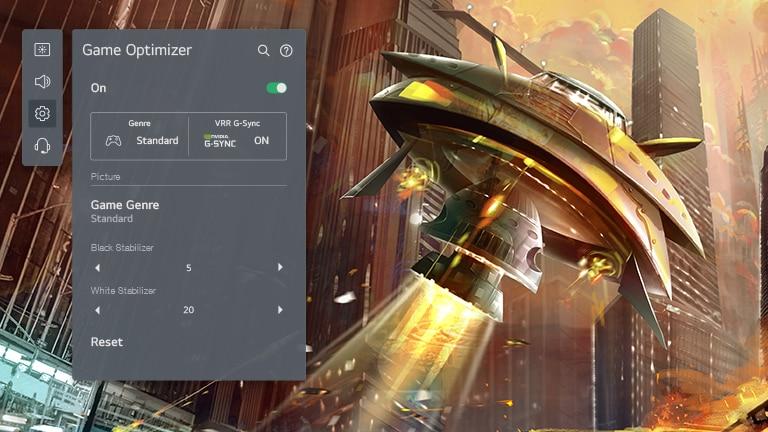 Een tv-scherm met een ruimteschip dat in een stad schiet en links de LG OLED game optimizer-GUI die de spelinstellingen aanpast.
