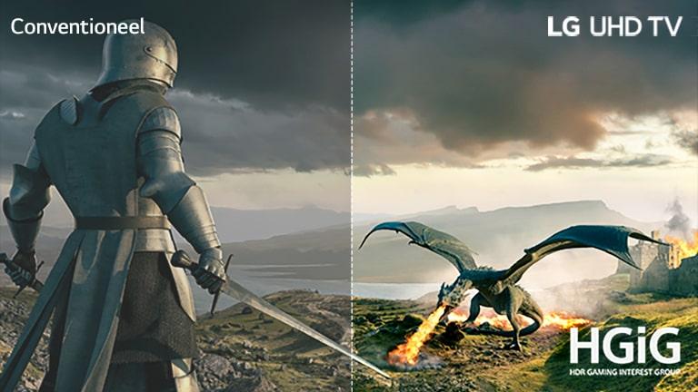 Een ridder in een harnas met een zwaard en een draak die vuur uitblaast staan tegenover elkaar. Op de afbeelding staat linksboven de tekst conventioneel, rechtsboven LG UHD TV en rechtsonder een HGiG-logo.