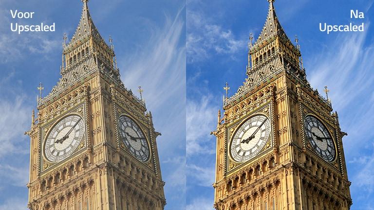 """Een afbeelding van de Big Ben rechts met de tekst """"Na upscaling"""" heeft een helderder en duidelijker beeld in vergelijking met dezelfde afbeelding links met de tekst """"Voor upscaling""""."""