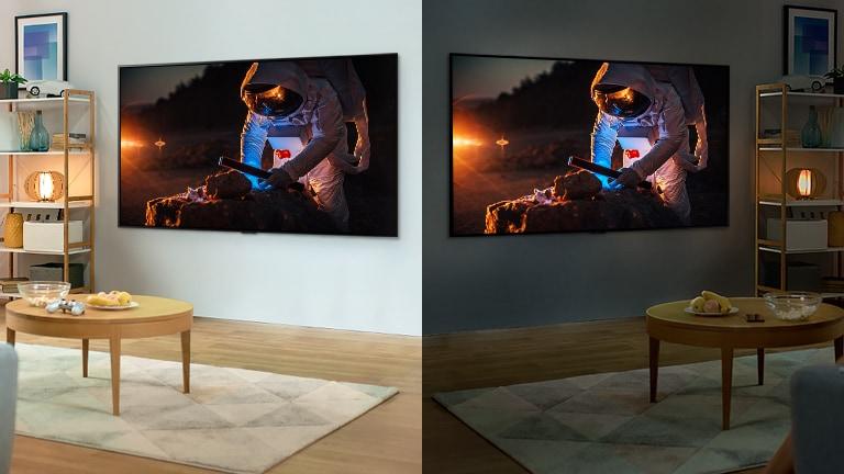 Een tv met een astronaut in de helder verlichte kamer. Rechts staat in de donkere kamer een tv met een heldere astronaut.