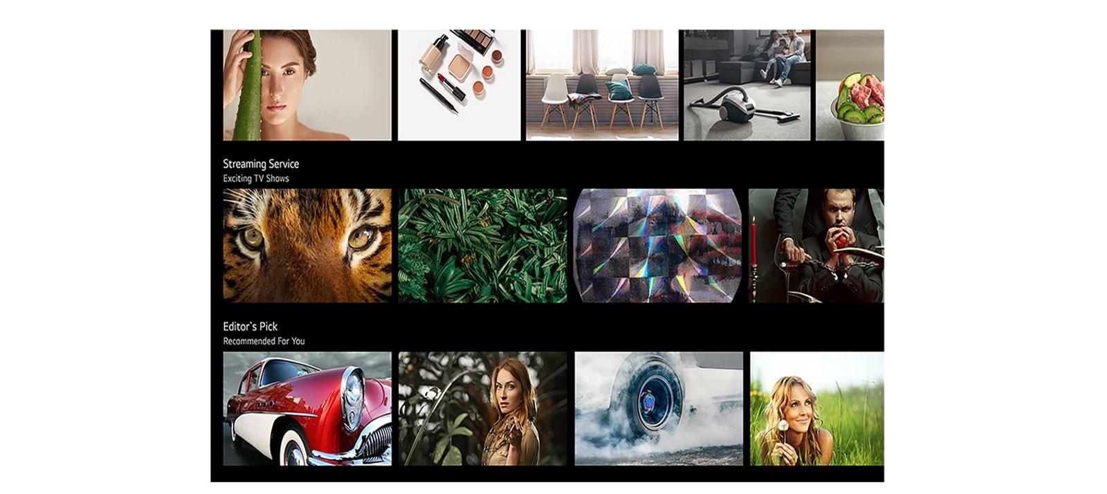 Een tv-scherm met verschillende inhoud opgesomd en aanbevolen door LG ThinQ AI. (Speel de video af)