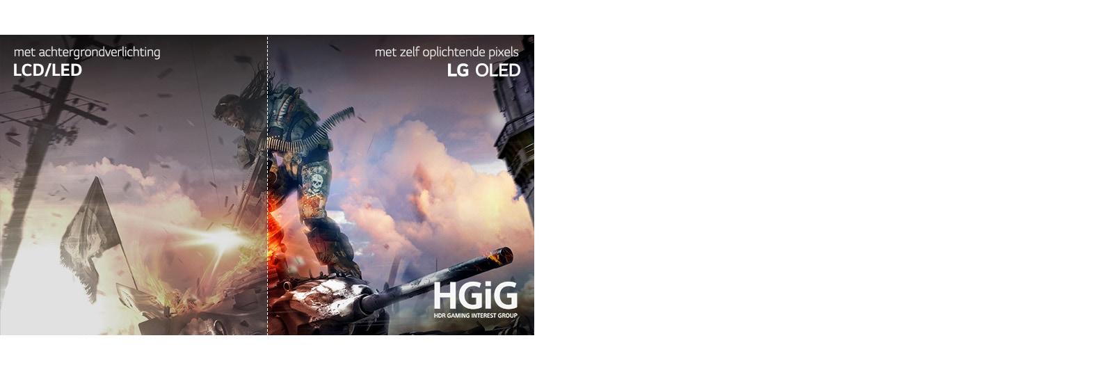 Een game-scene, de helft op een LCD / LED-tv met een slechte beeldkwaliteit en de andere helft op een LG OLED-tv met heldere, levendige beeldkwaliteit